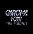 chrome font 3d metal font silver alphabet vector image