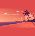 coastal resort city at vivid sunset on ocean vector image