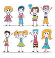 Collection of happy children Hand drawn cute vector image vector image