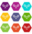 crossed tennis rackets and ball icon set color vector image vector image