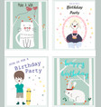 cute baby boy and girl birthday card vector image vector image