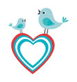 cute birds couple icon vector image vector image