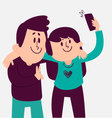 Cute Couple Taking a Selfie vector image vector image