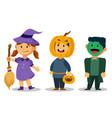 cute kids wear halloween costume vector image vector image