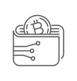 digital bitcoin wallet thin line symbol icon vector image vector image