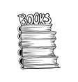 Doodle mono color style stack of books vector image vector image