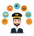 driver taxi service app cartoon icons vector image vector image