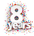 Eight years paper confetti sign vector image vector image