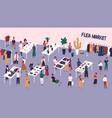 flea or fashion market rag fair with people vector image vector image