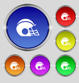 football helmet icon sign Round symbol on bright vector image