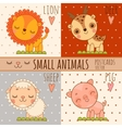Four simple cute images of animals cartoon style vector image vector image