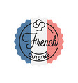 french cuisine logo round linear french flag vector image vector image