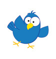 funny cartoon blue bird vector image