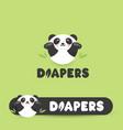 funny panda in diapers flat cartoon style vector image