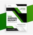 green geometric annual report business flyer vector image vector image
