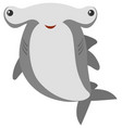 hammerhead shark with happy face vector image vector image