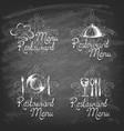 hand-drawn label set for restaurant menu design vector image