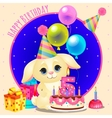 Happy birthday greeting card with cute dog vector image vector image