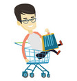 happy man riding by shopping trolley vector image vector image