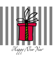 Happy New Year postcard with present box vector image