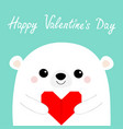 happy valentines day white bear head face holding vector image vector image