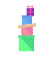 heap of colorful boxes with gifts flat vector image