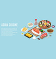 horizontal banner template with tasty meals of vector image
