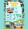 hunting sport items poster with weapon and animals vector image vector image
