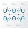 interior icons line style set with bench wall vector image