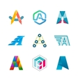 Letter A logo set Color icon templates design vector image