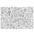 line art set hippie objects vector image