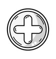 line cross medicine symbol to help the people vector image