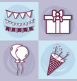 line set happy birthday celebration icon vector image