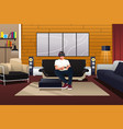 man playing with virtual reality headset vector image