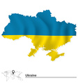 Map of Ukraine with flag vector image vector image