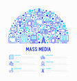 mass media concept in half circle vector image vector image