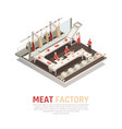 meat factory isometric composition vector image
