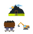 mining industry cartoon icons in set collection vector image vector image