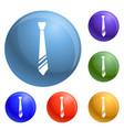 necktie clothes icons set vector image