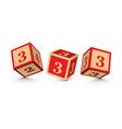 number 3 wooden alphabet blocks vector image vector image