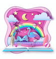 open fairy tale book with flamingo and tropic vector image vector image