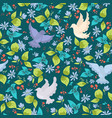 pattern with colorful doves and flowers vector image vector image