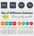 Play sign icon symbol Big set of colorful diverse vector image vector image