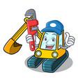 plumber excavator mascot cartoon style vector image vector image