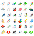 puzzle icons set isometric style vector image vector image