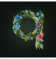 q letter Flower alphabet Colorful font vector image vector image