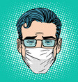 Retro Emoji sore virus infection medical mask face vector image
