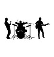 rock and roll band silhouette guitar and drummer vector image