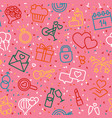 seamless background with linear valentine s day vector image vector image