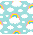 seamless pattern cloud colorful rainbow cute vector image